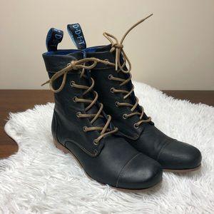 John Fluevog Radios BBC Black Leather Lace Up Boot
